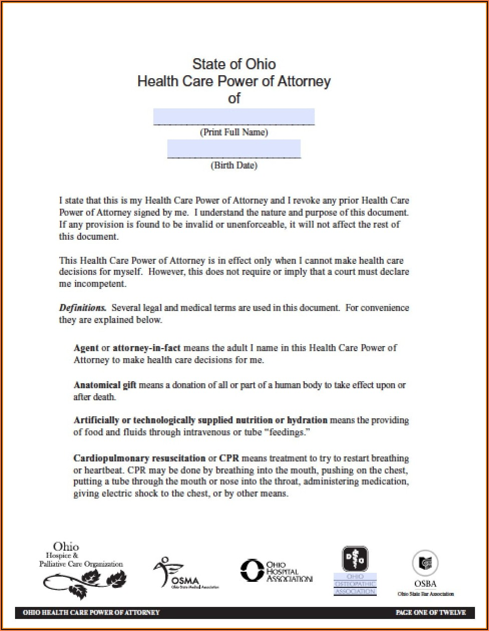 One Page Medical Power Of Attorney Form