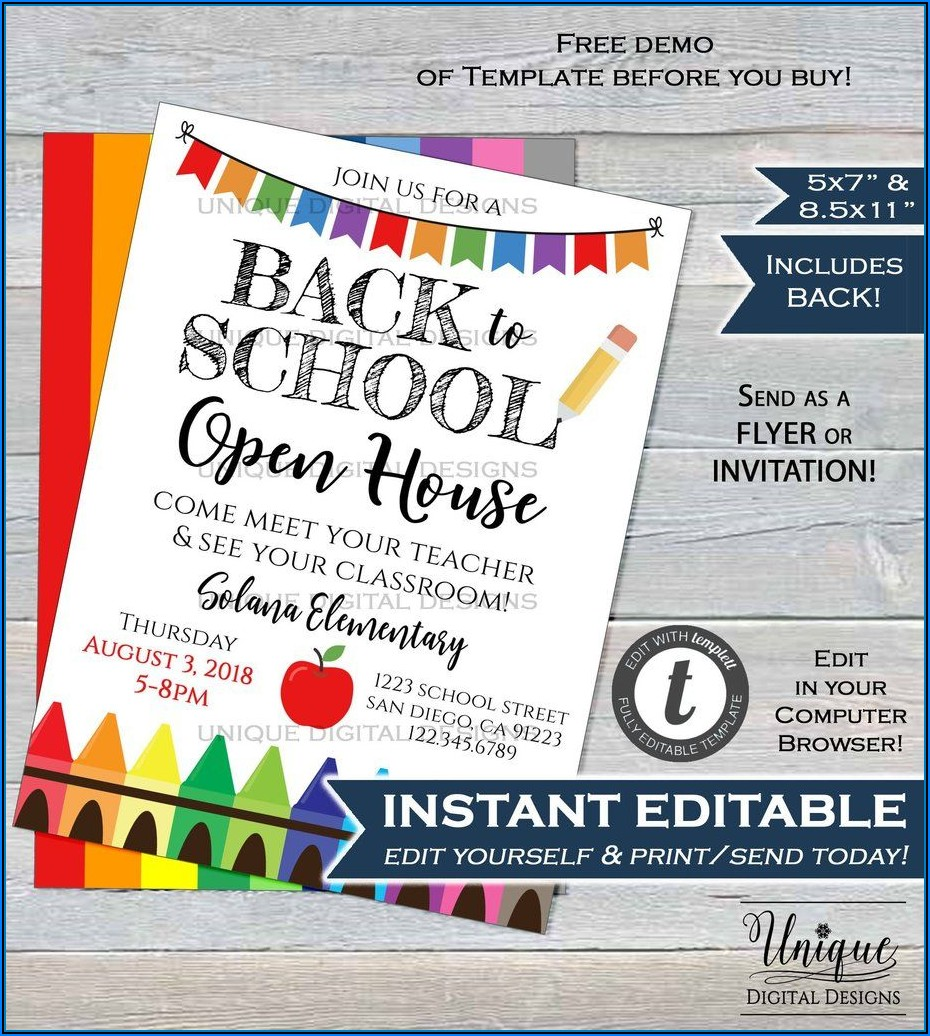Open House Flyer Template For School