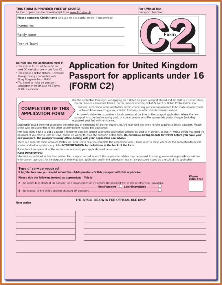 Passport Renewal Form Printable Uk