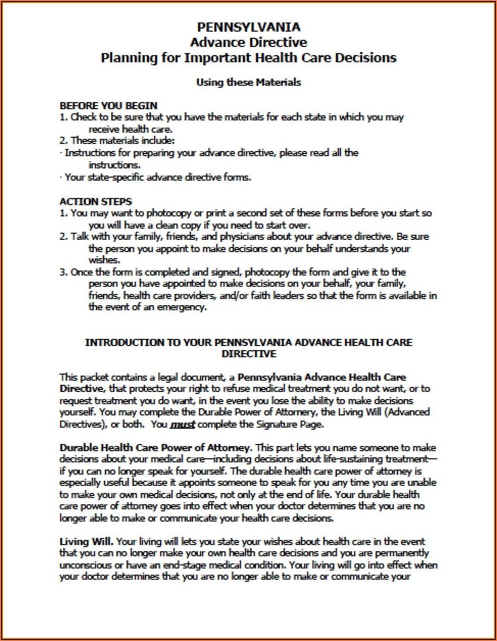Pennsylvania Medical Power Of Attorney Form 2020
