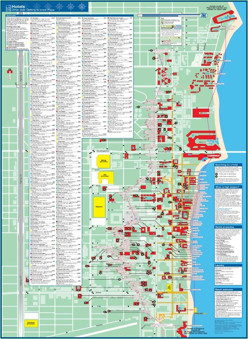 Playa Del Carmen Map Of Hotels On Beach