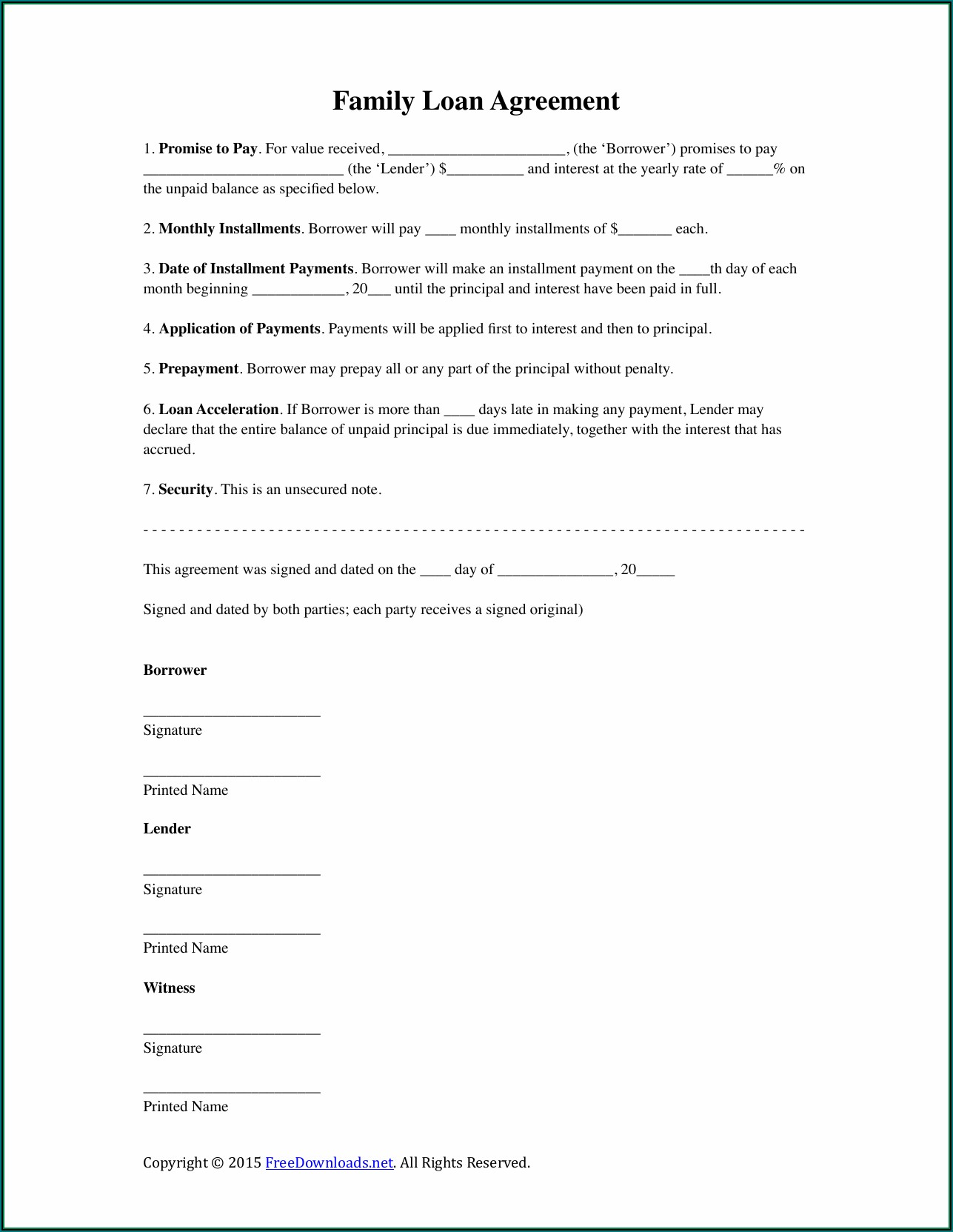 Printable Family Loan Agreement Template