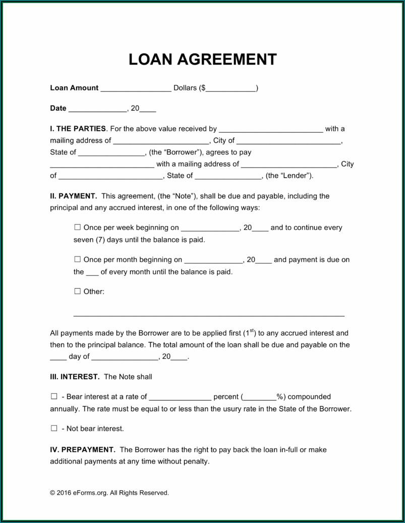 Printable Free Loan Agreement Template Uk