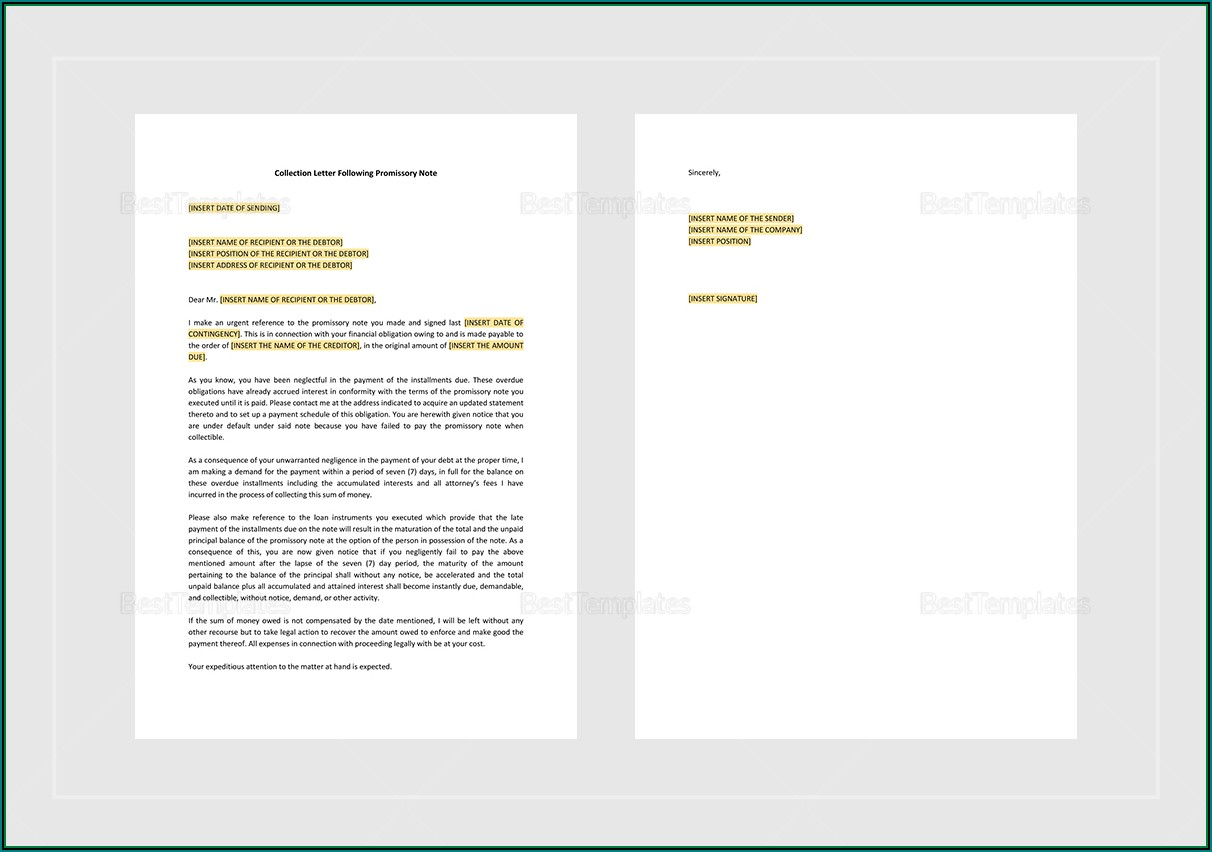 Promissory Letter Template Word