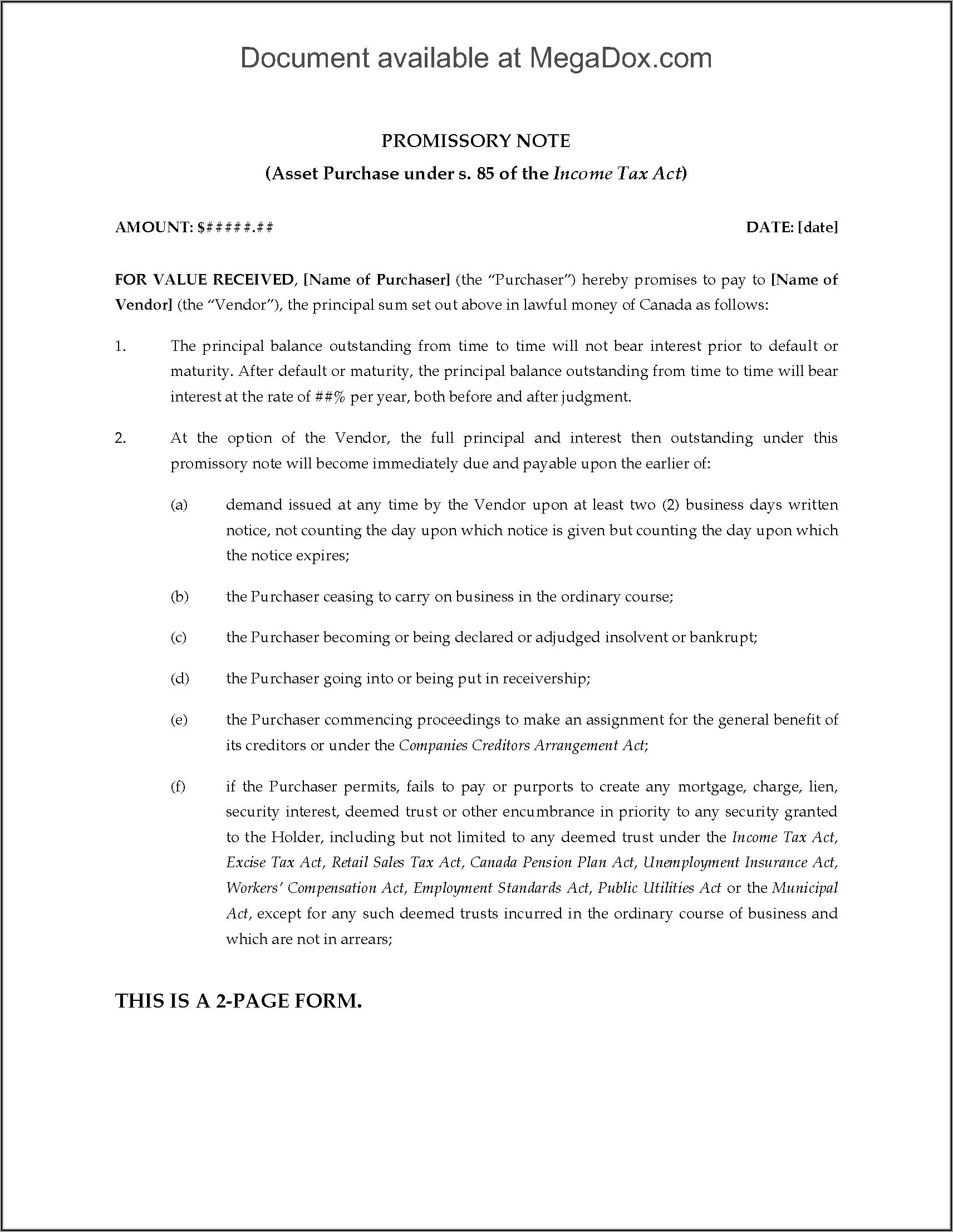 Promissory Note Form Canada