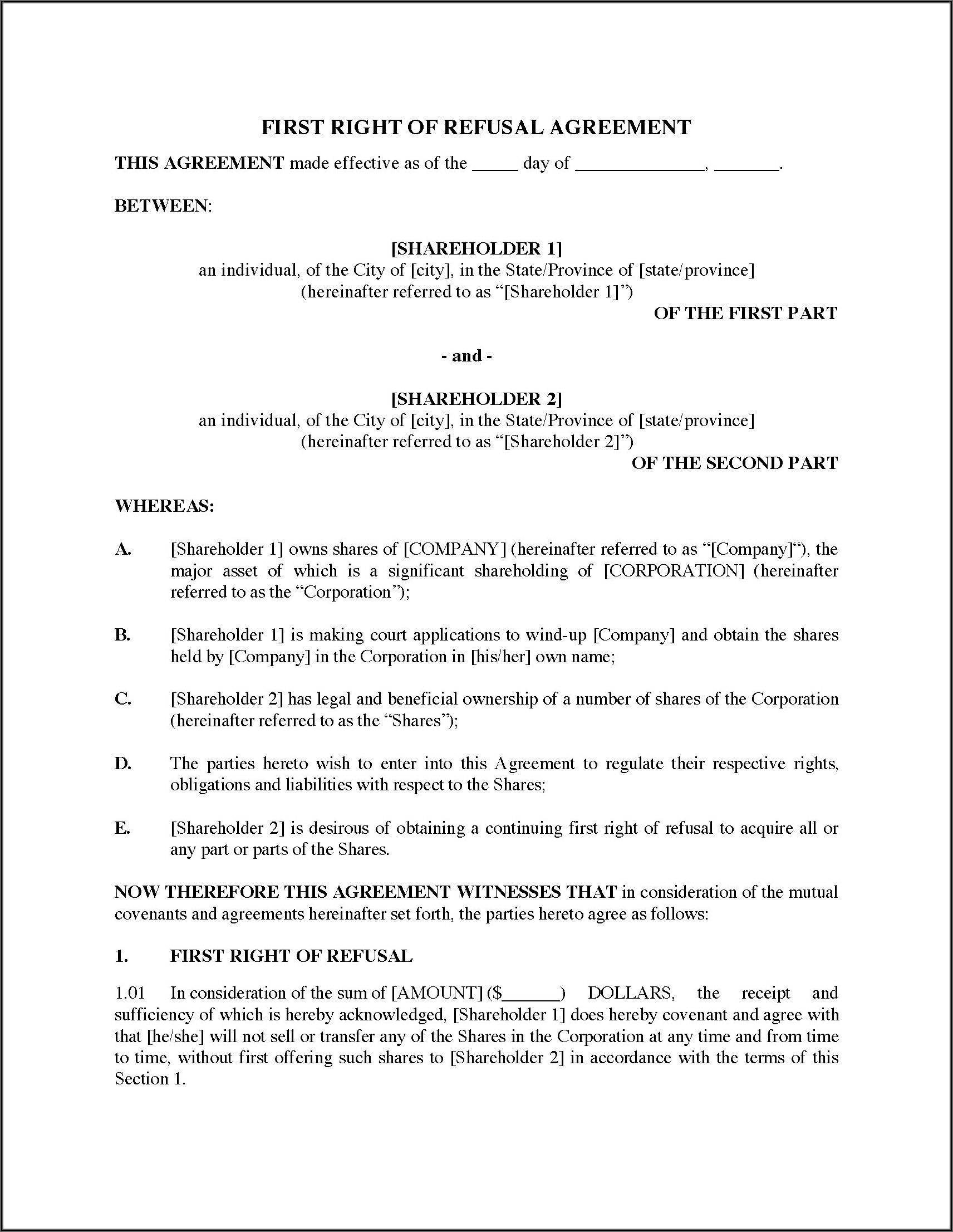 Right Of First Refusal Real Estate Contract Template