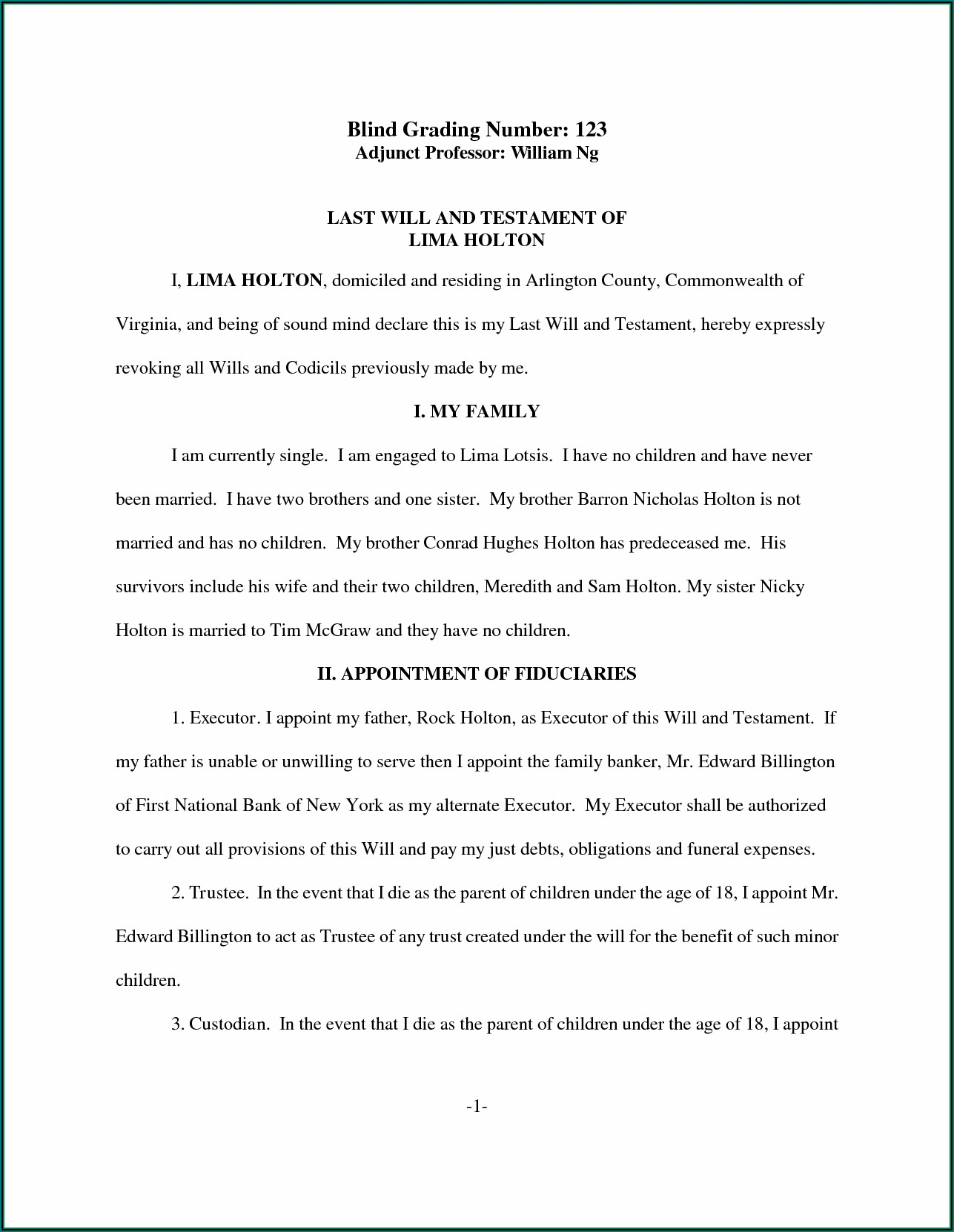 Sample Last Will And Testament Template Philippines