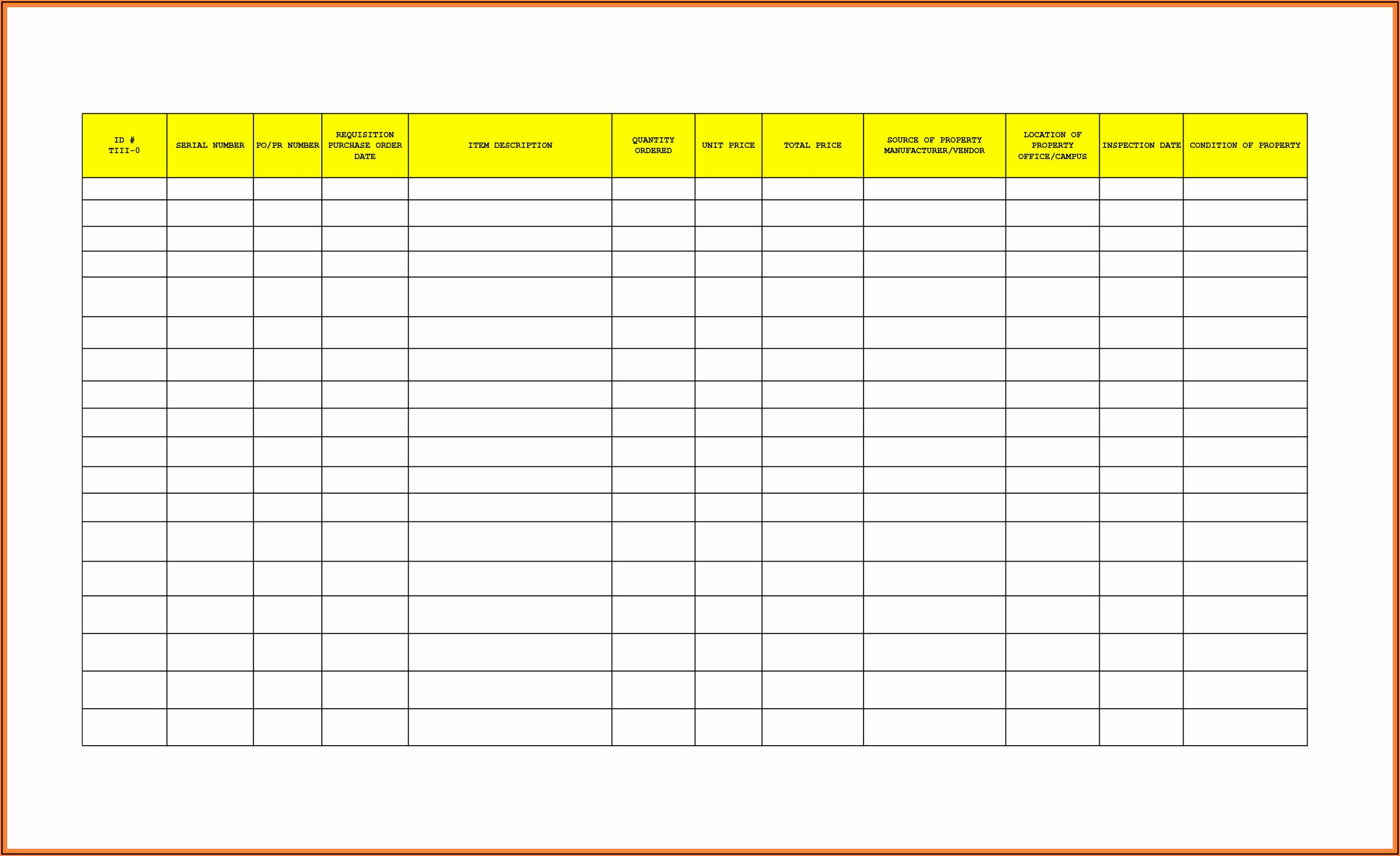 Sample Office Supplies Inventory Form