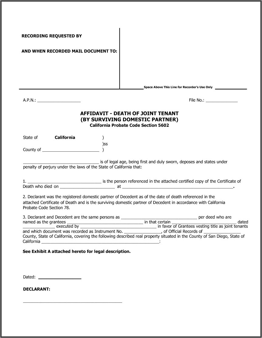 San Diego County Recorder Quit Claim Deed Form