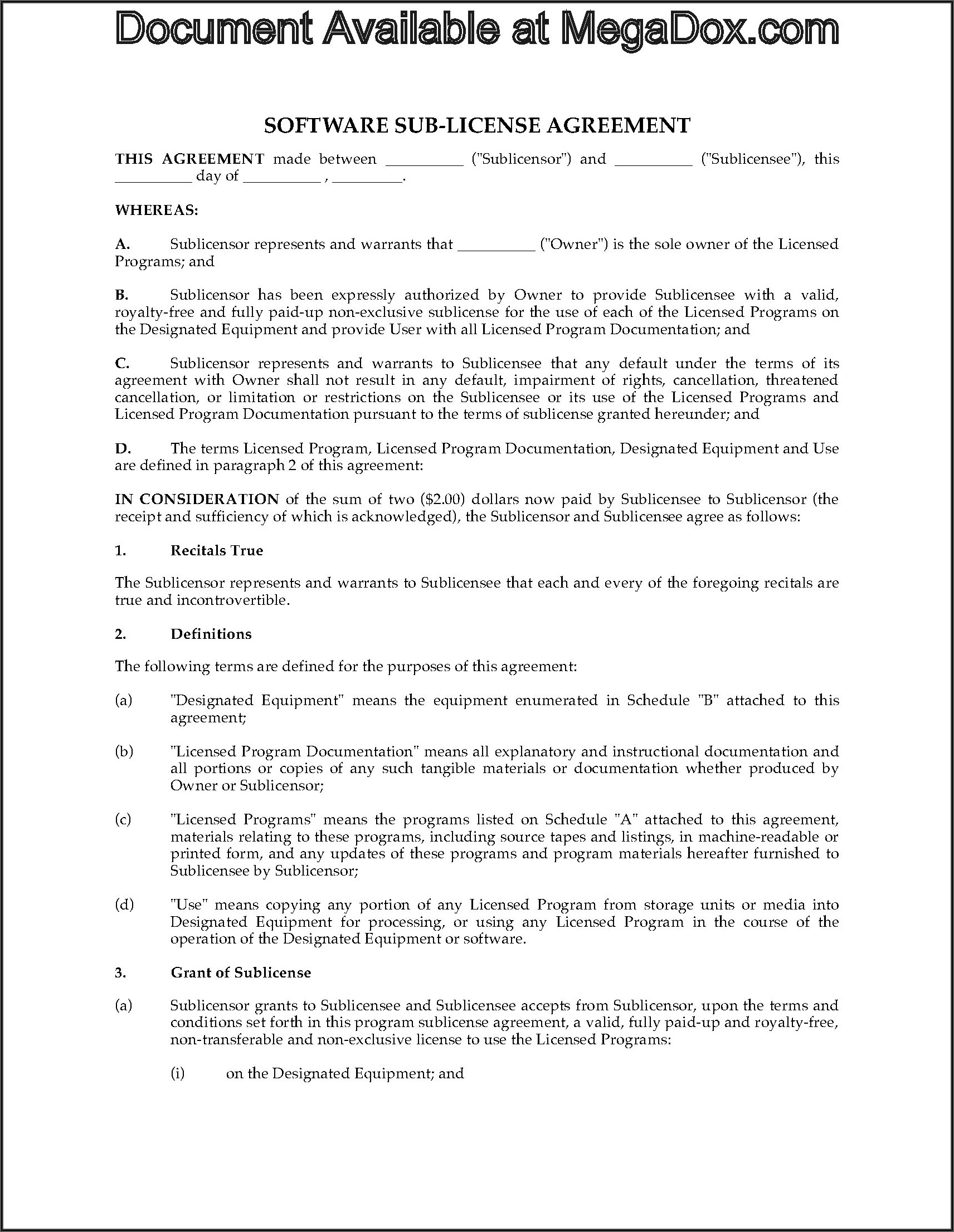 Software Sublicense Agreement Template