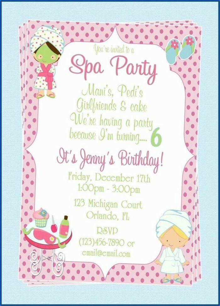 Spa Birthday Party Invitation Template