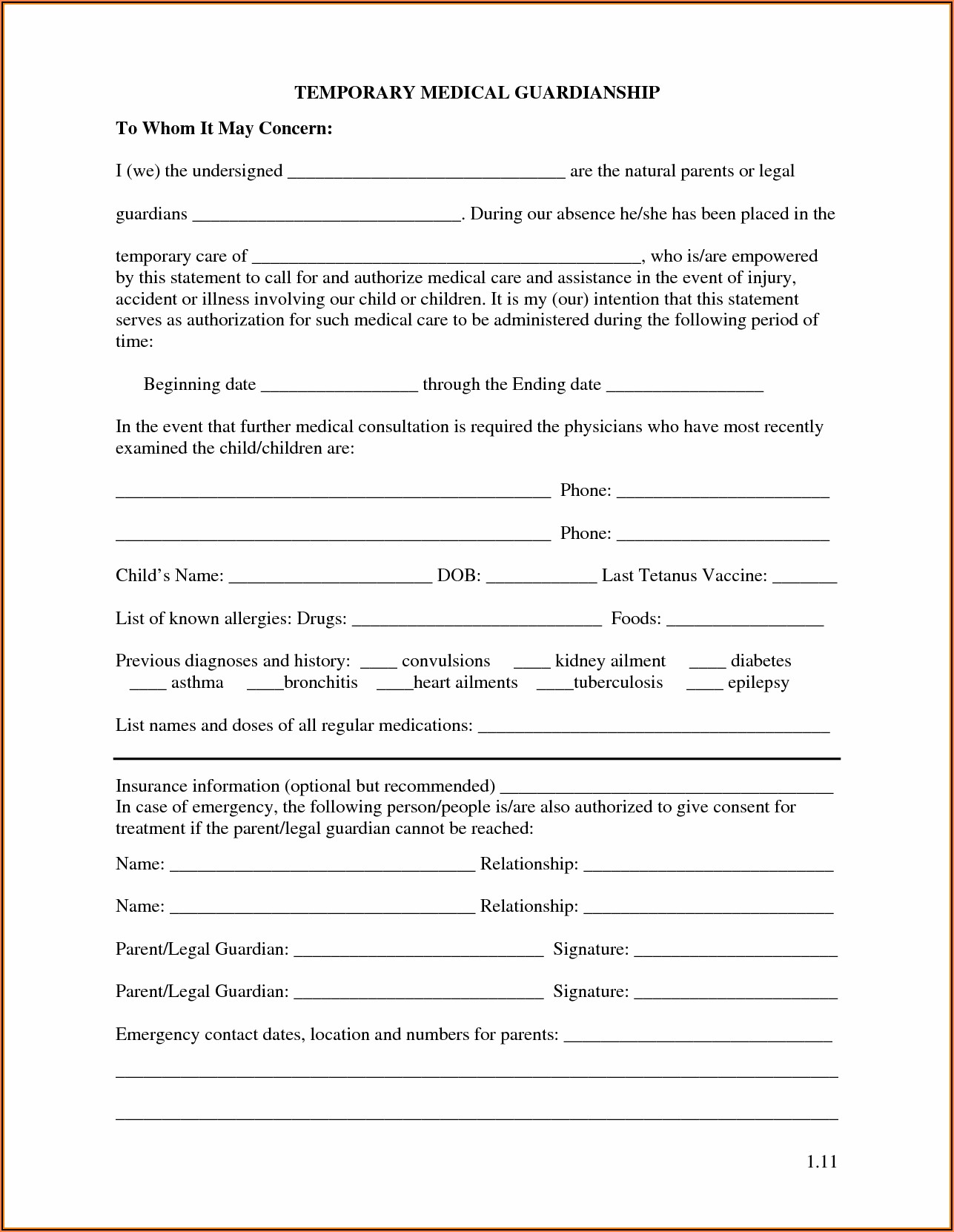 State Of Michigan Temporary Guardianship Form