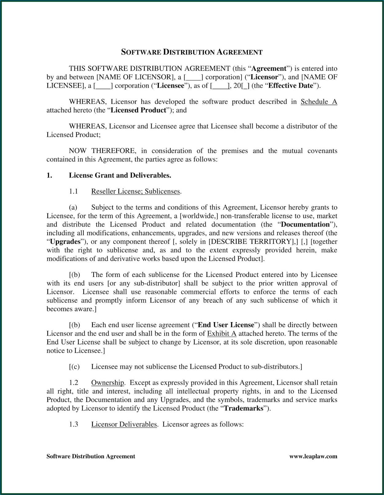 Sublicense Agreement Template