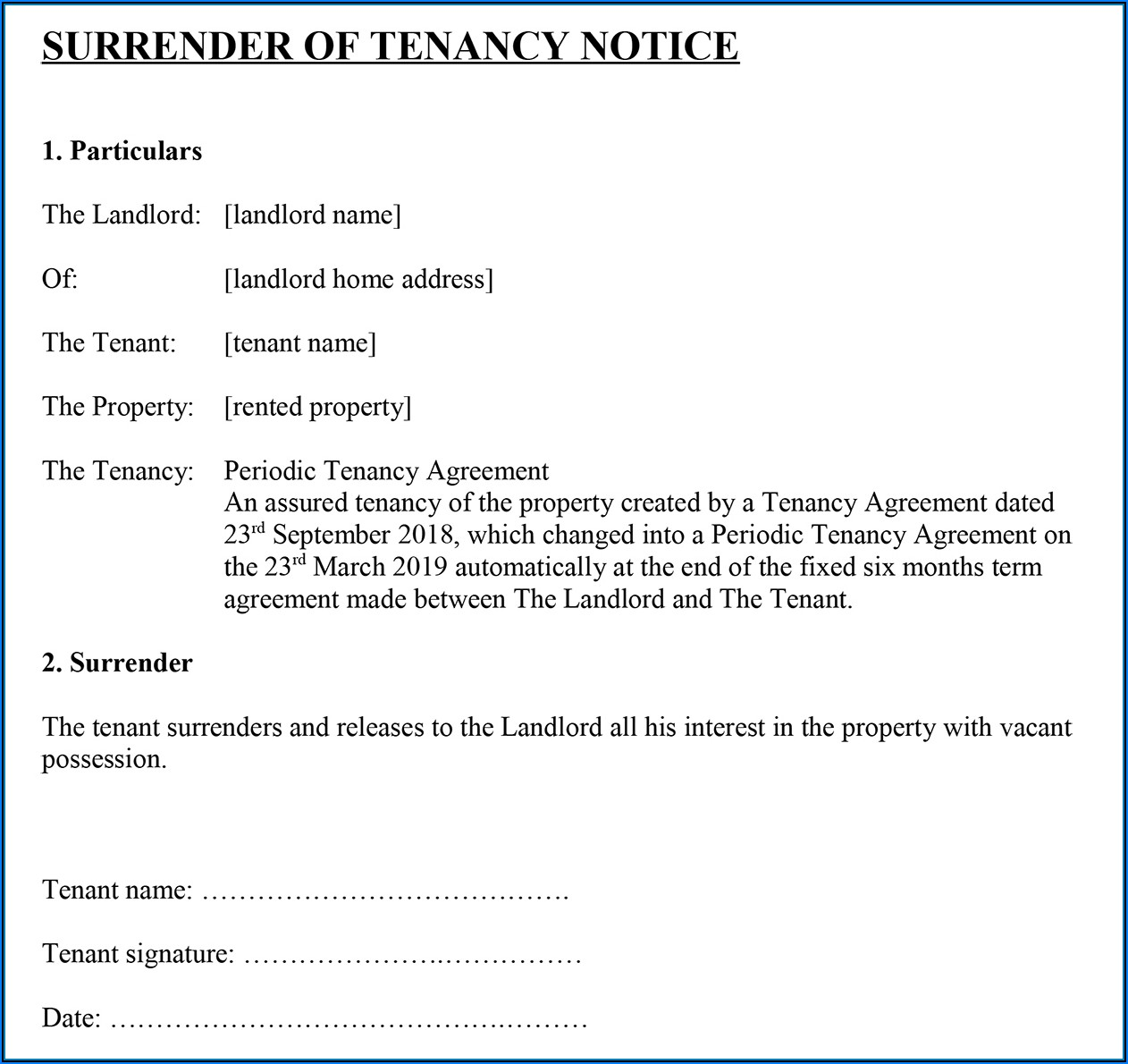 Surrender Commercial Lease Agreement Template