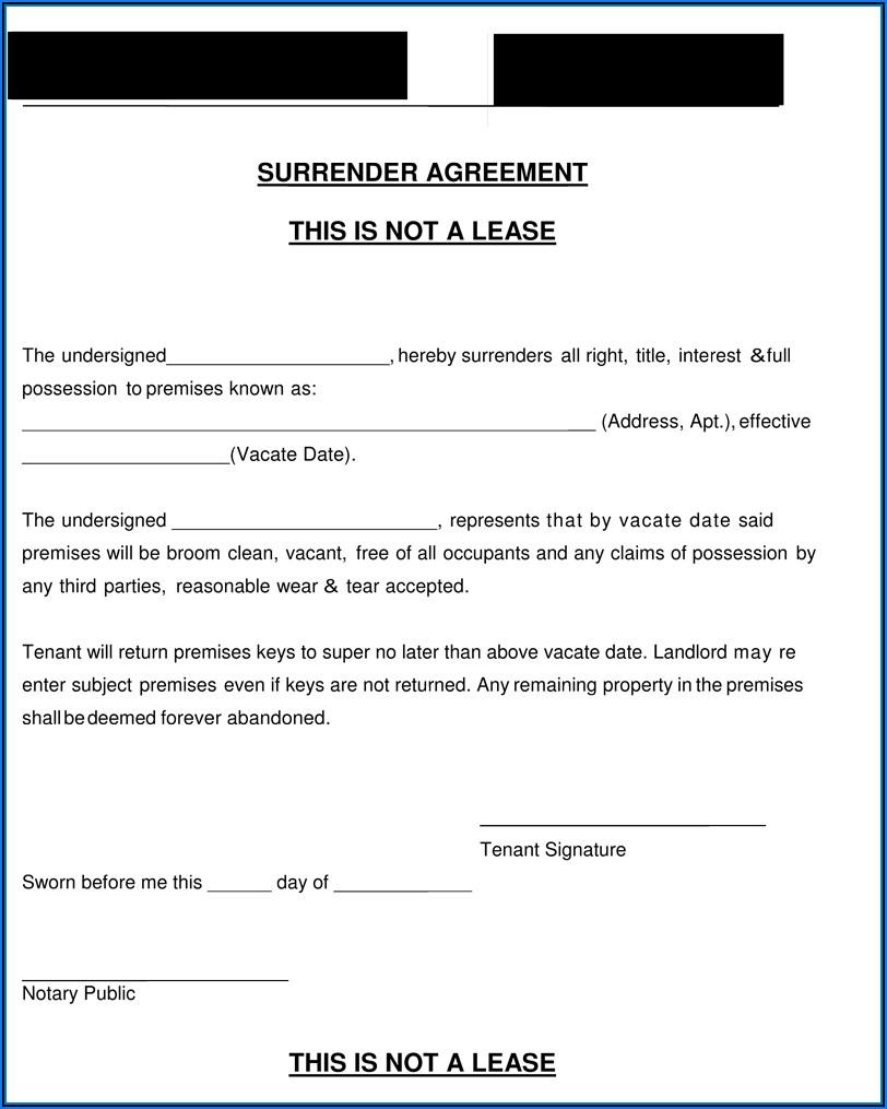 Surrender Of Tenancy Agreement Template