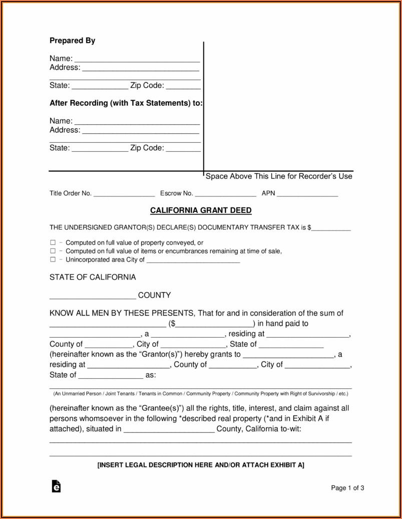 Survivorship Deed Form Free