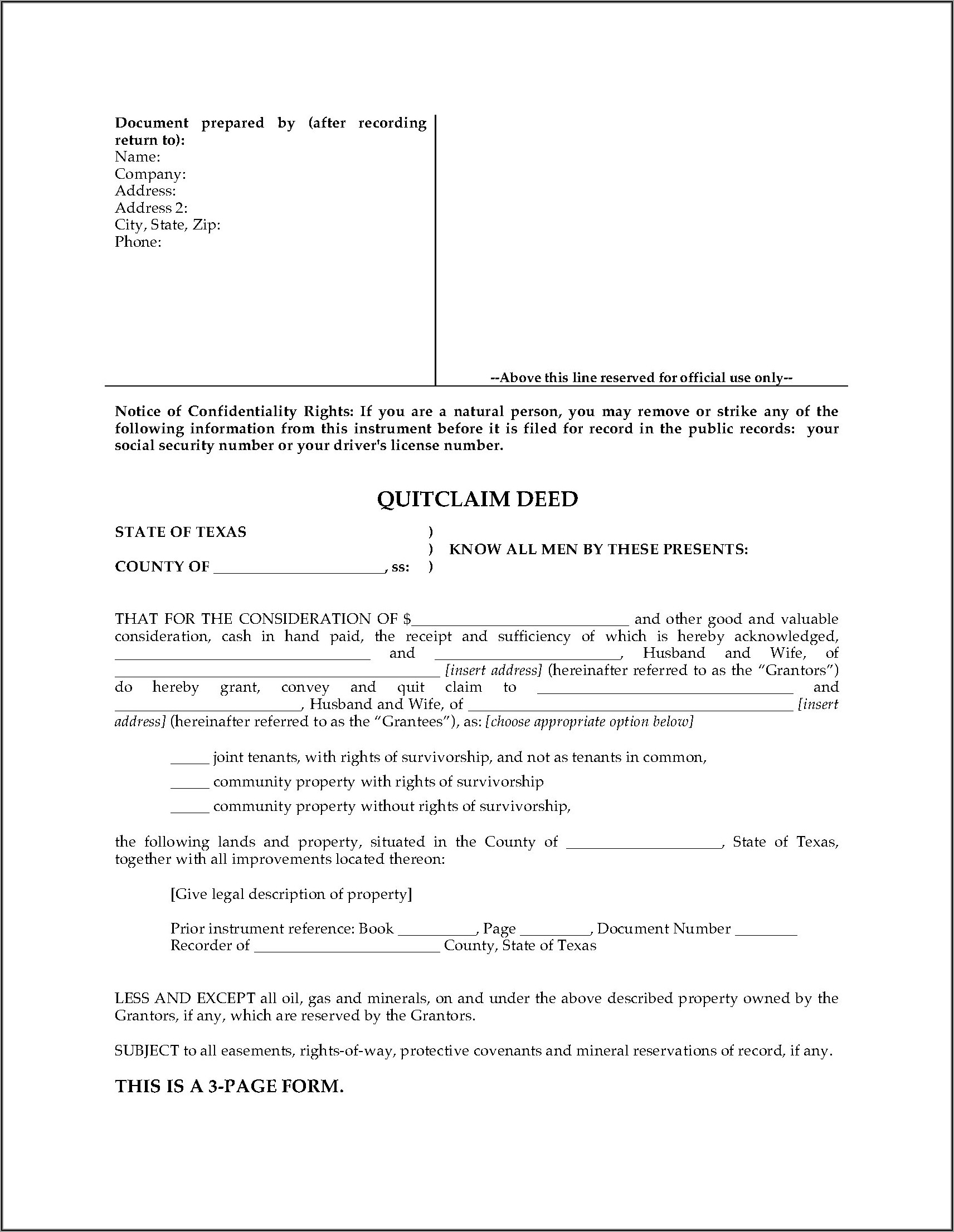 Survivorship Deed Form Texas