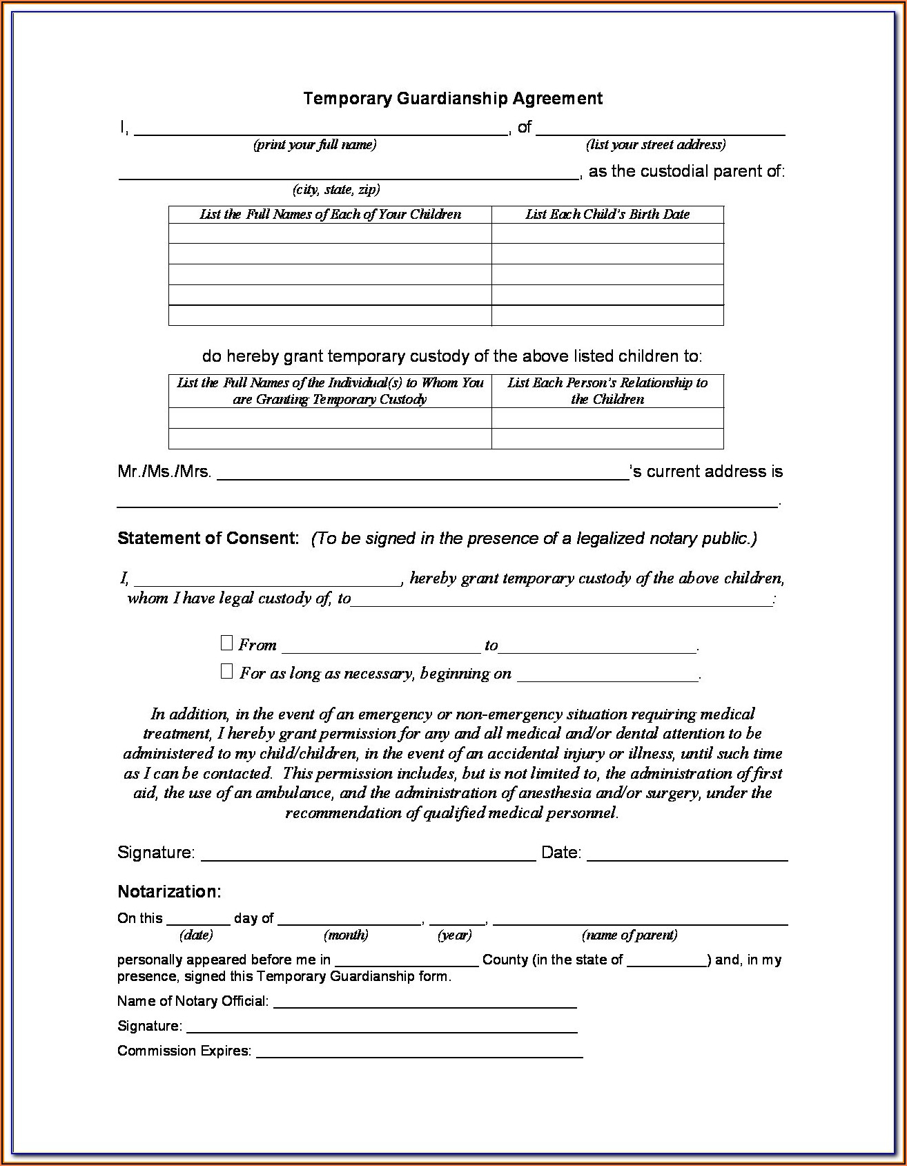 Temporary Guardianship Agreement Form Michigan