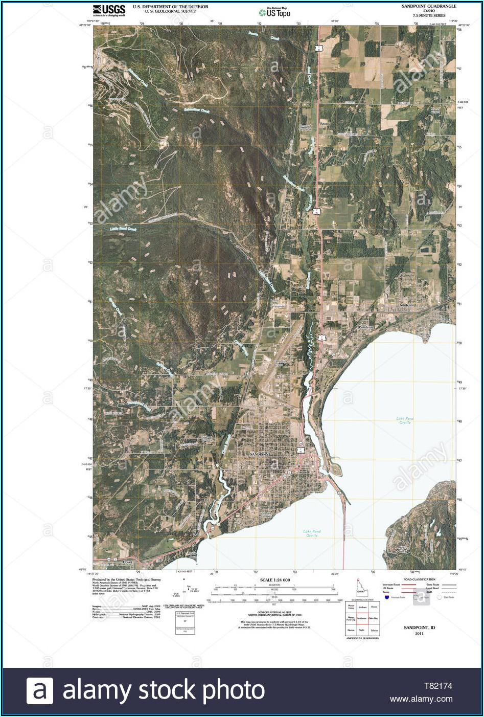 Topo Map Sandpoint Idaho
