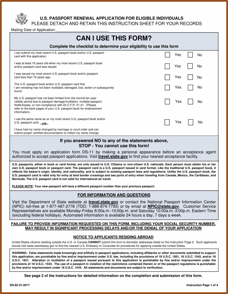 Us Passport Renewal Forms Printable