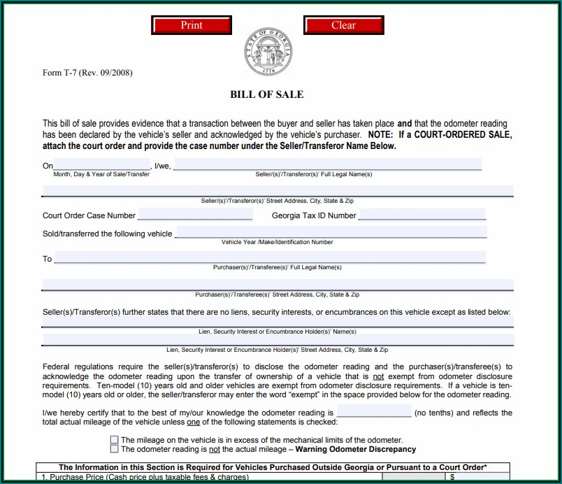 Used Car Bill Of Sale Template Georgia