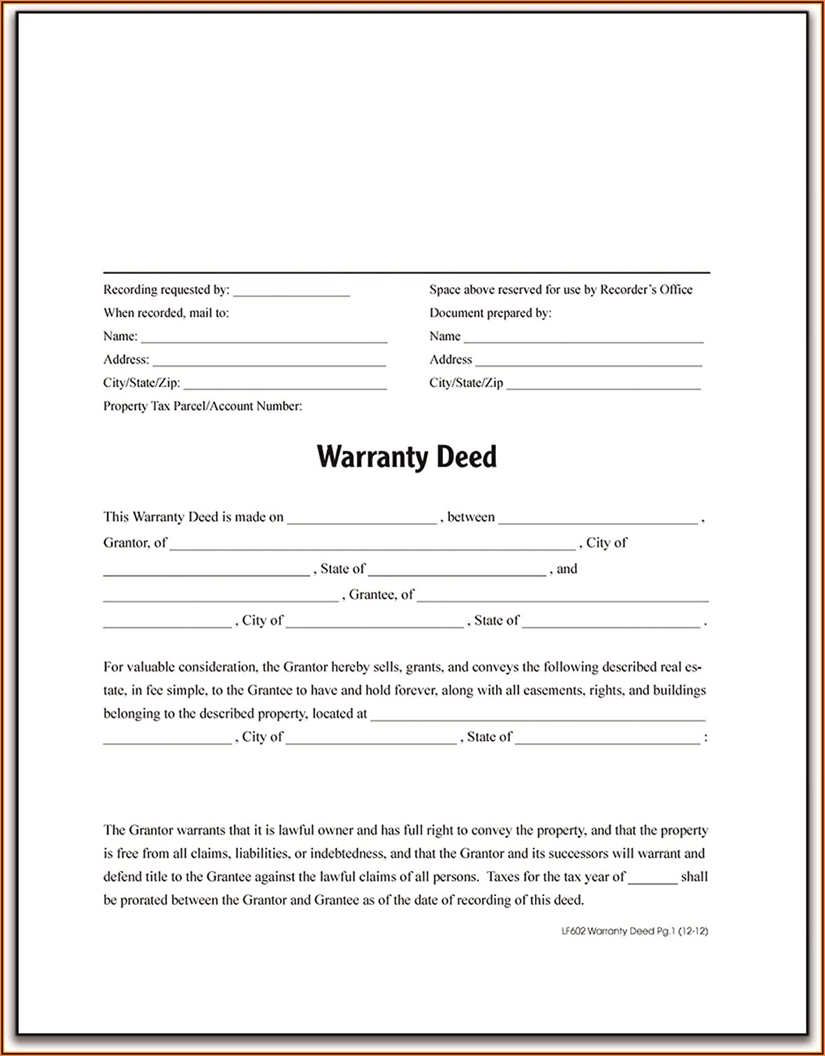 Warranty Deed Forms