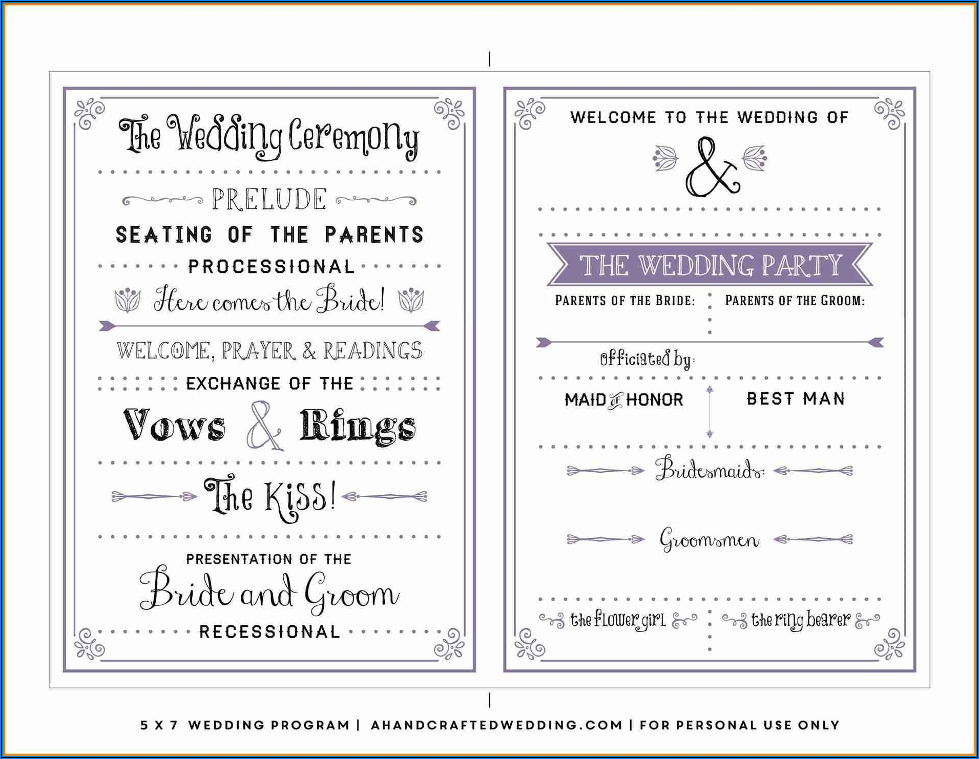 Wedding Program Templates Free Download