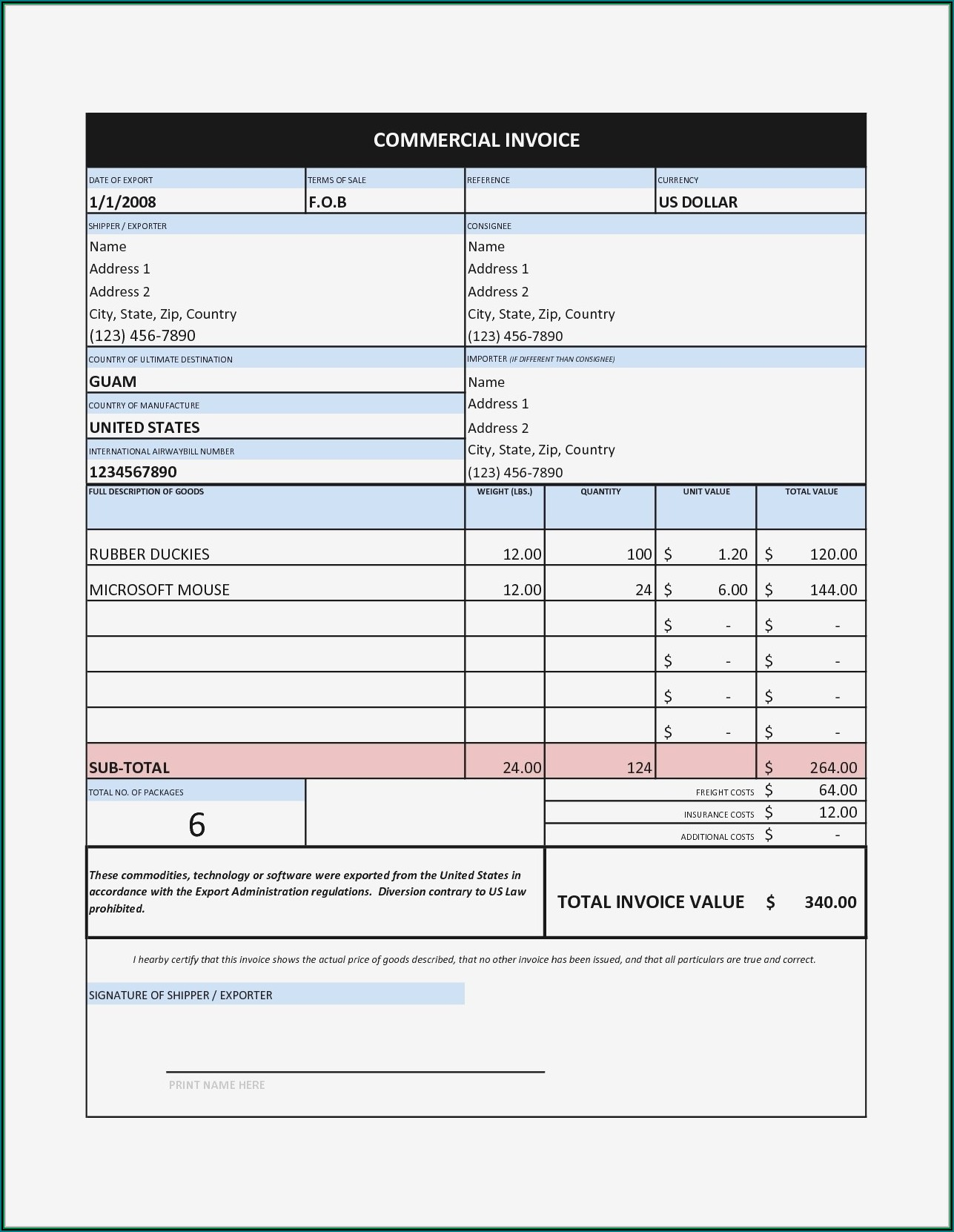 Windows Invoice Template