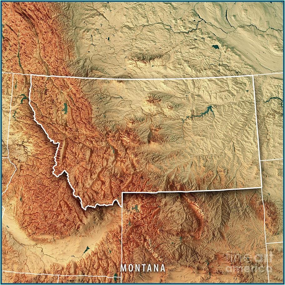 Wood Topographic Map Montana