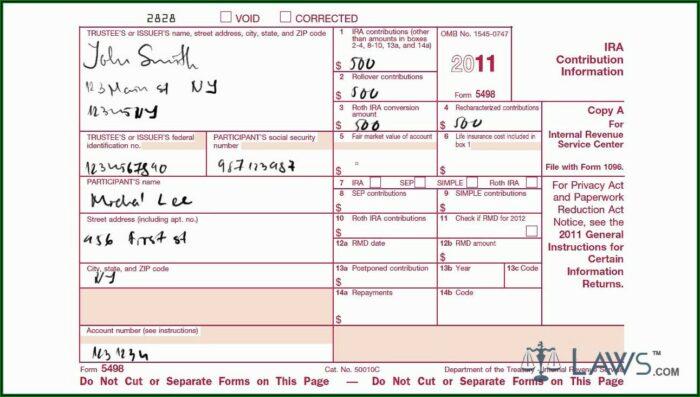 401k Rollover Form 5498