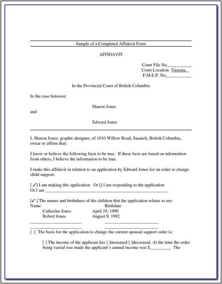 Affidavit Template Family Court Nz