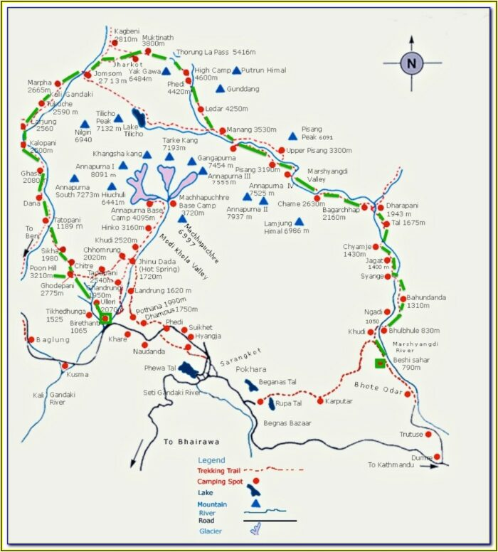 Annapurna Base Camp Trekking Route Map
