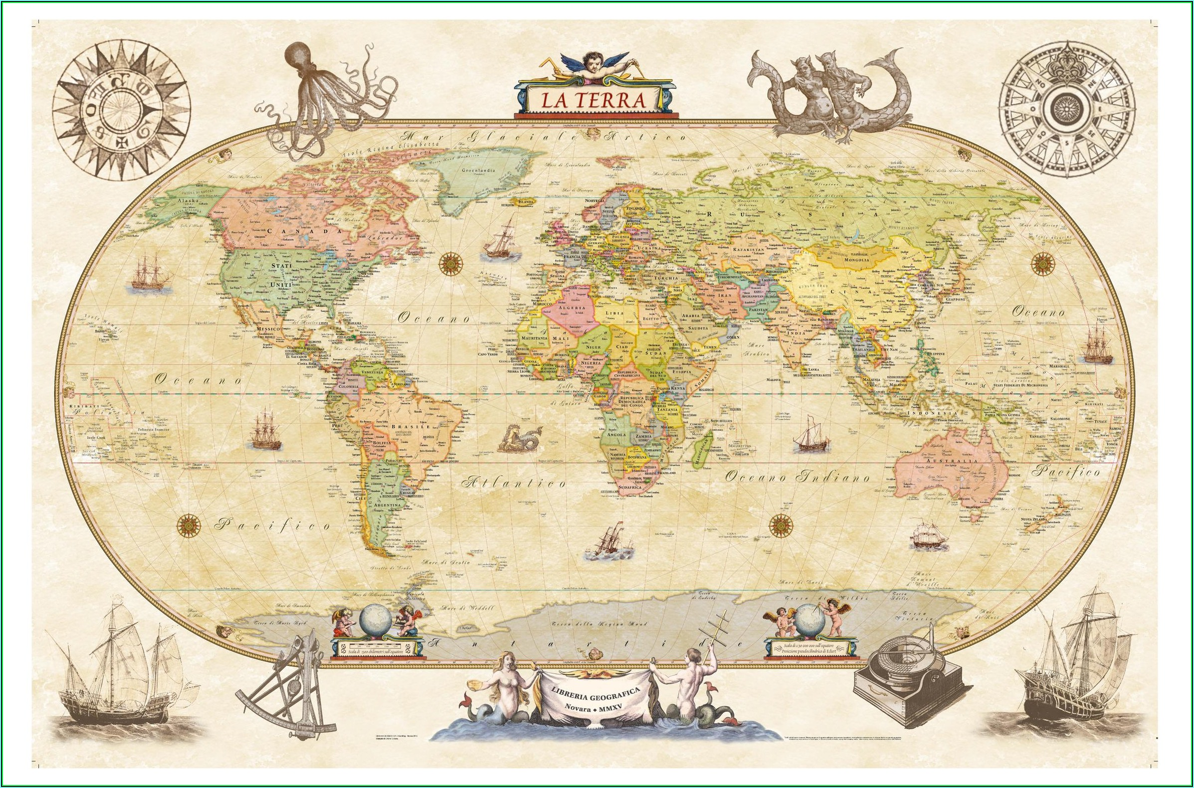 Antique Style World Wall Map