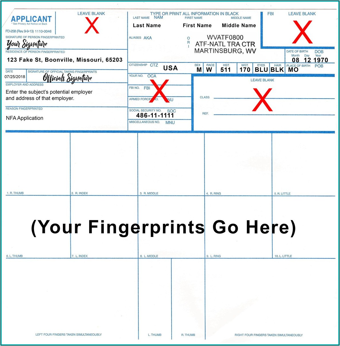 Applicant Fingerprint Card Form Fd 258