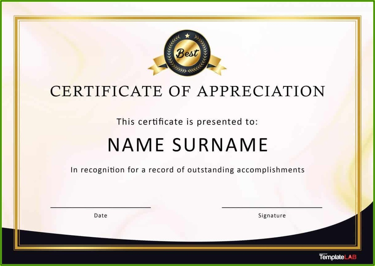 Appreciation Award Certificate Templates Free