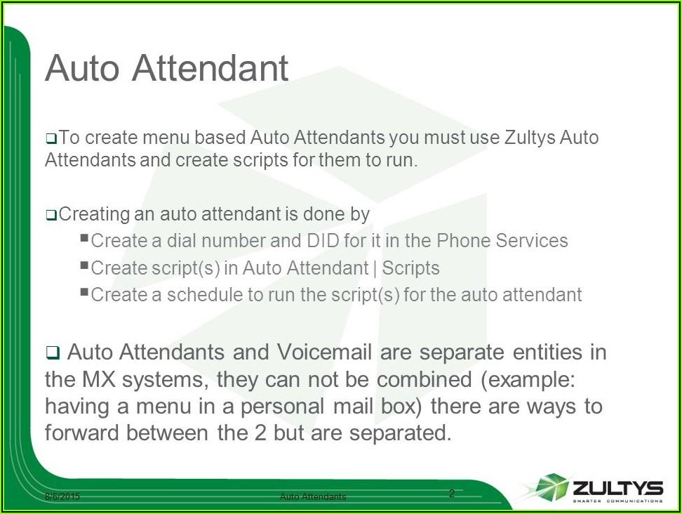 Auto Attendant Script Example