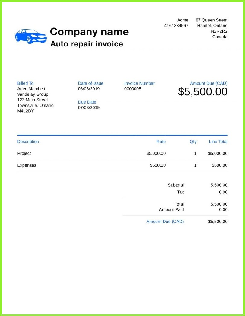 Auto Parts Invoice Template