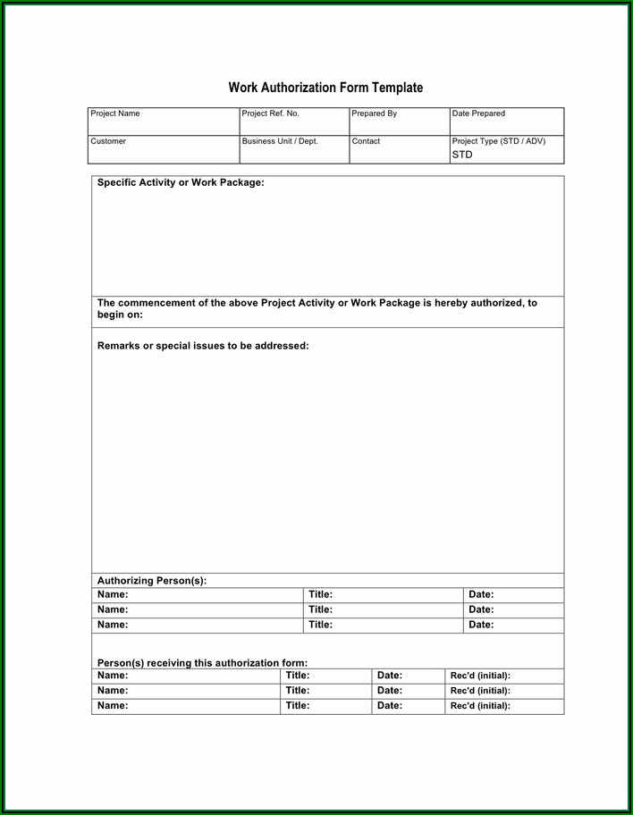 Auto Repair Authorization Form Template