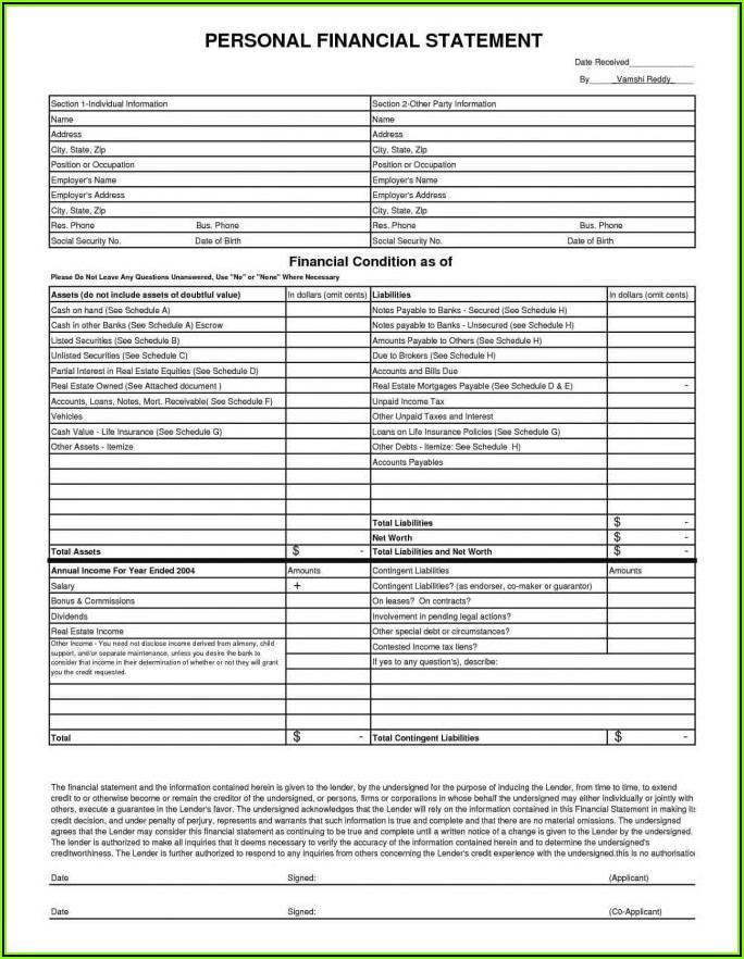 Blank Balance Sheet Form