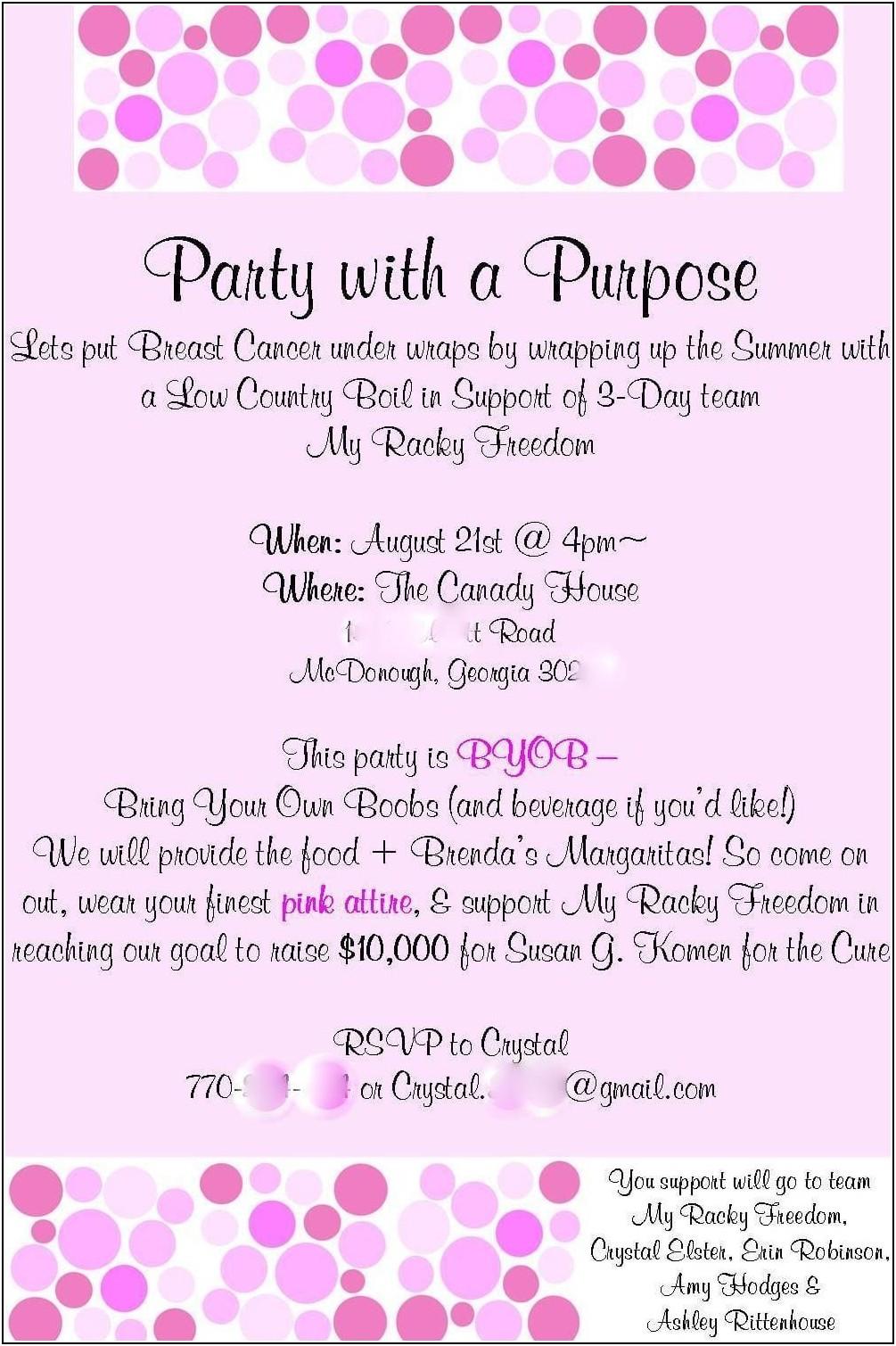 Breast Cancer Fundraiser Invitation Templates