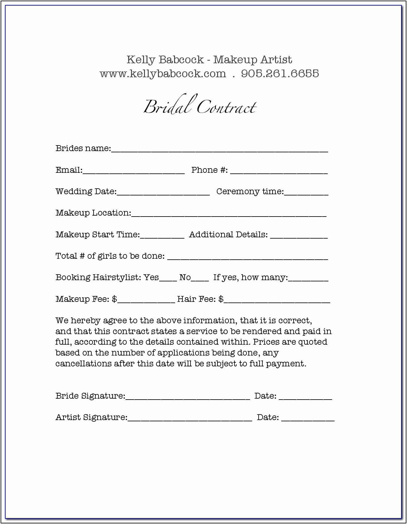 Bridal Makeup Contract Template