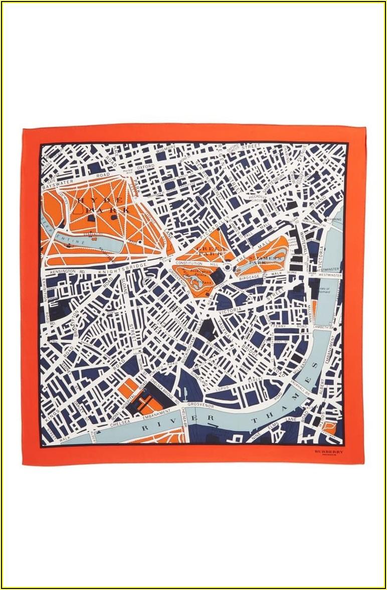 Burberry London Map Silk Scarf