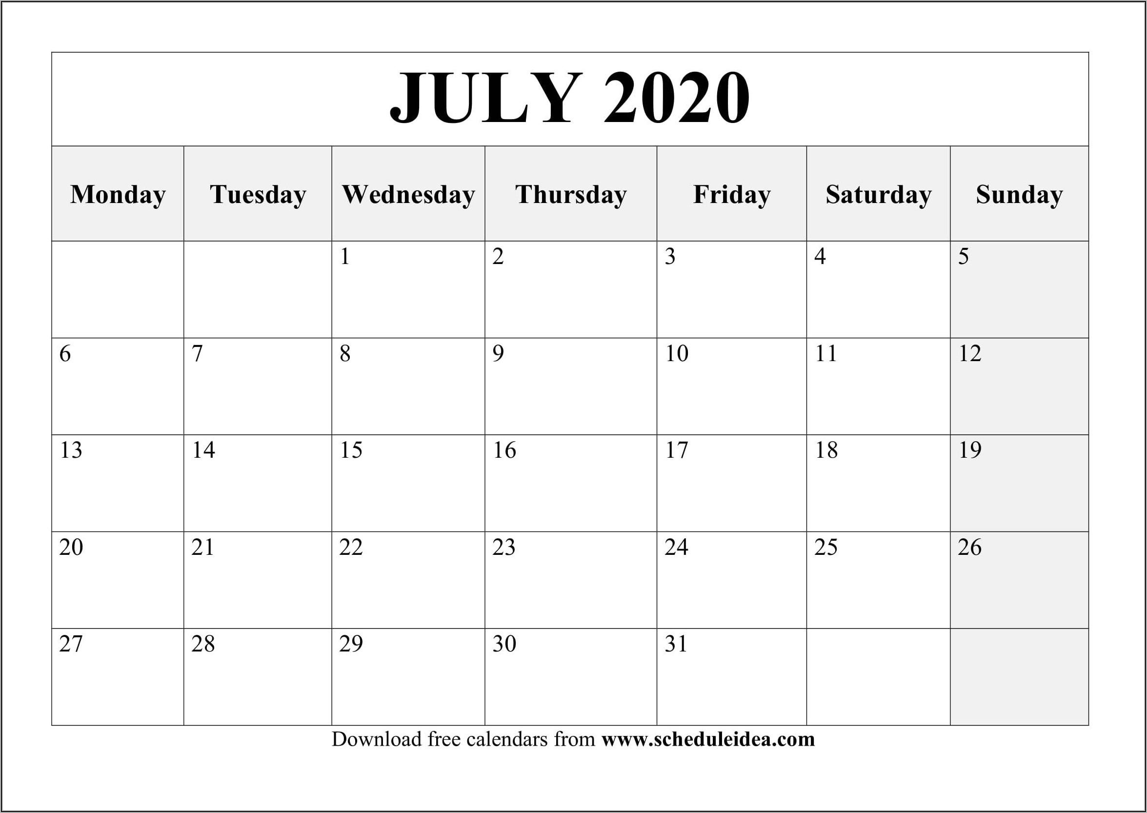 Calendar Planner Template Free