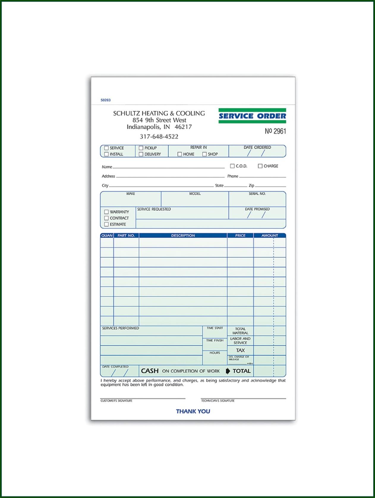 Carbonless Service Order Forms