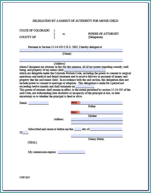 Colorado Durable Power Of Attorney Form Free