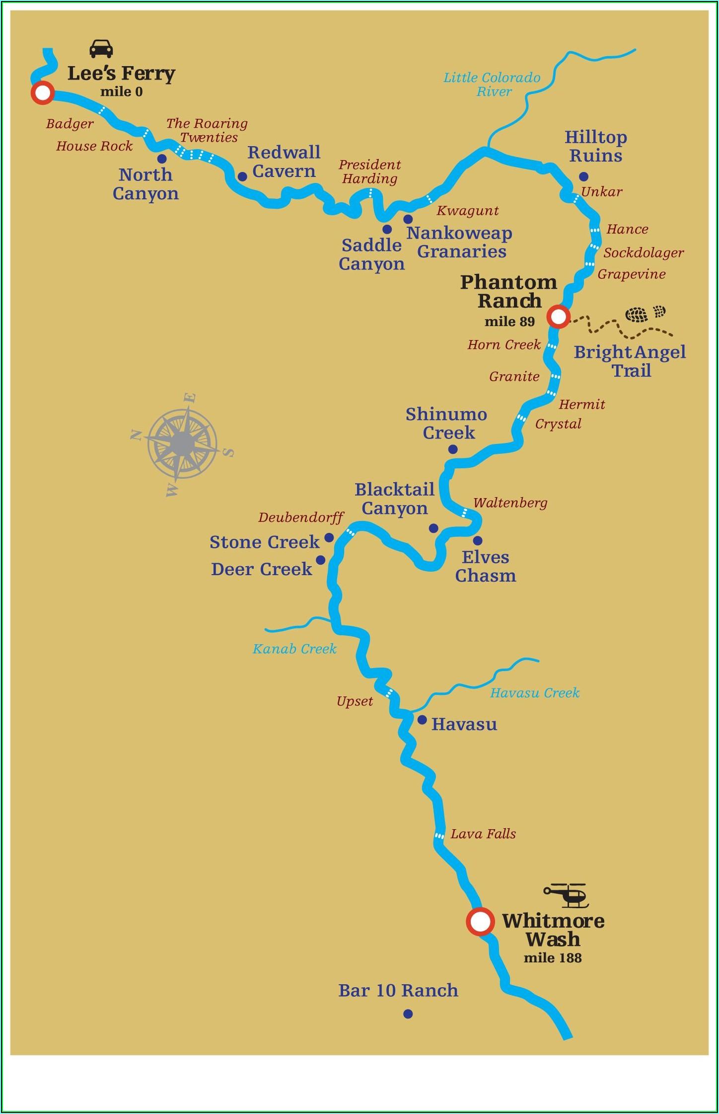 Colorado River Grand Canyon Map