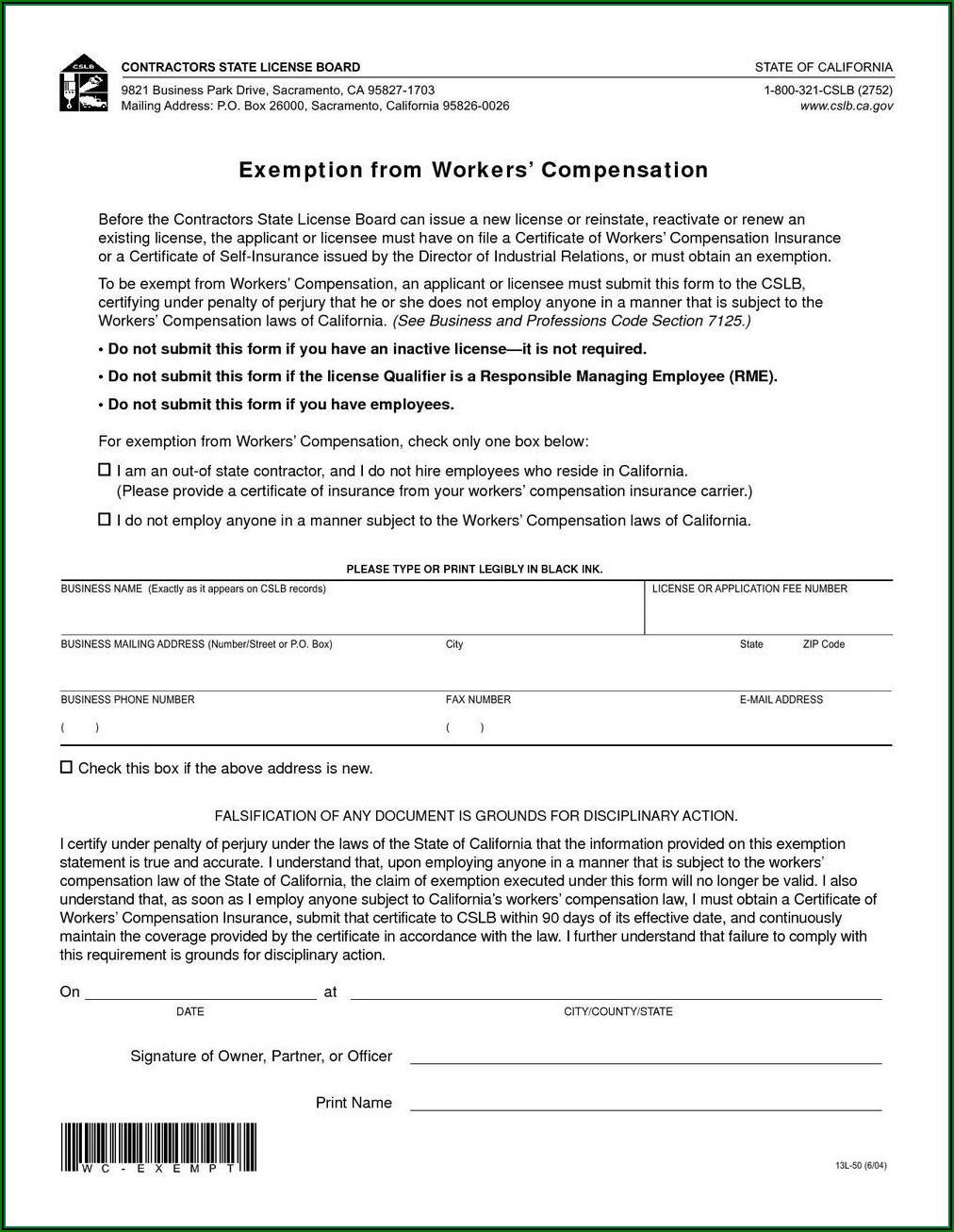 Colorado Workers Comp Exclusion Form