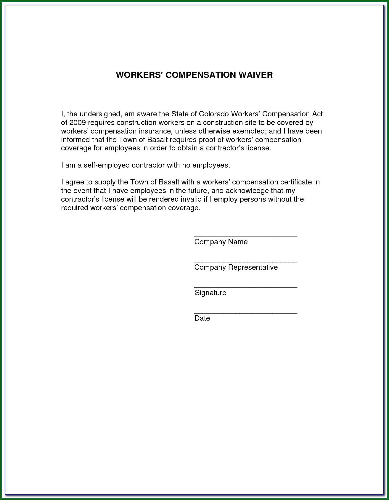Colorado Workers Comp Waiver Form