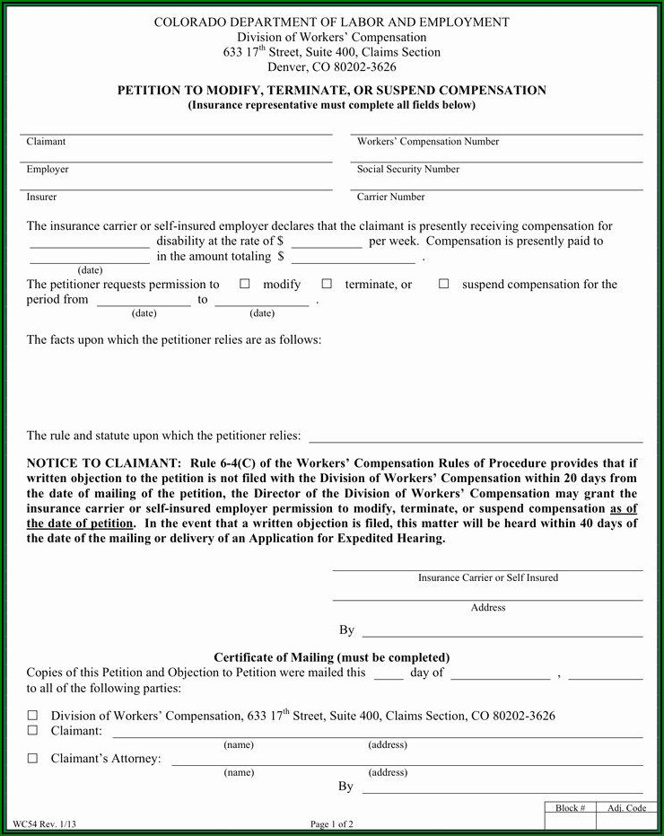 Colorado Workmans Comp Waiver Form