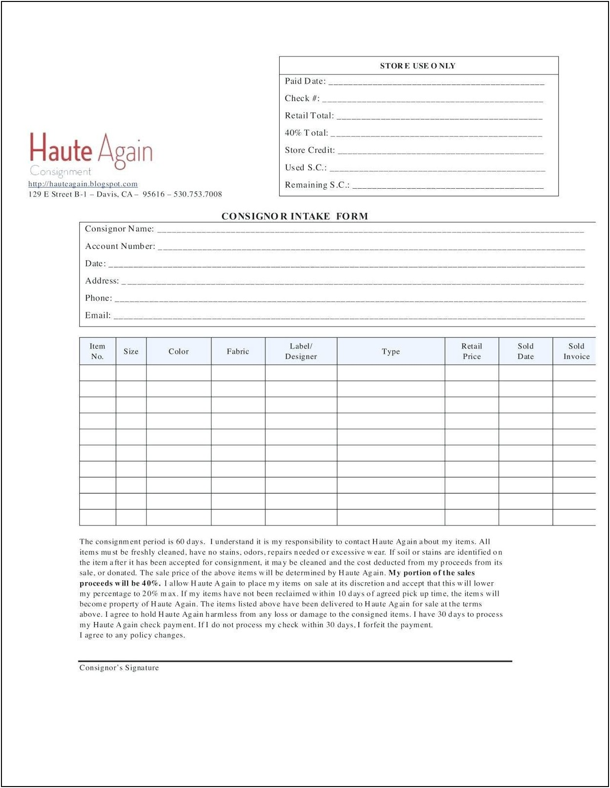 Consignment Shop Business Plan Template